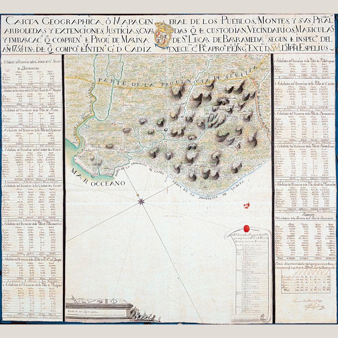 Mapa de Cádiz en el siglo XVIII